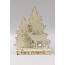 Christmas Scene - Girl & Deer