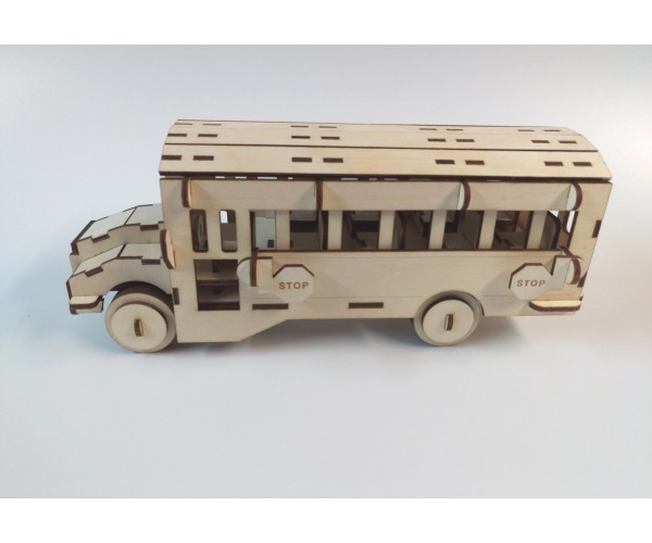 Plywood Laser Cut Yellow School Bus Model Kit