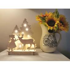 Christmas Scene - Girl & Deer with LED lights