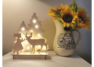 Christmas Scene - Girl & Deer with LED lights