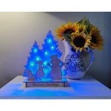 Christmas Scene - Girl & Snowman with LED lights