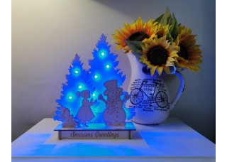 Christmas Scene - Girl & Snowman with LED lights