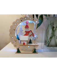 Christmas Winter Scene Light up wooden decoration with LED lights