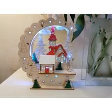 Light Up wooden Christmas Winter Scene decoration with LED lights