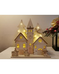 Christmas Village Church Light up wooden decoration with LED lights