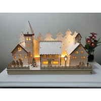 Christmas Village Light up wooden decoration with LED lights